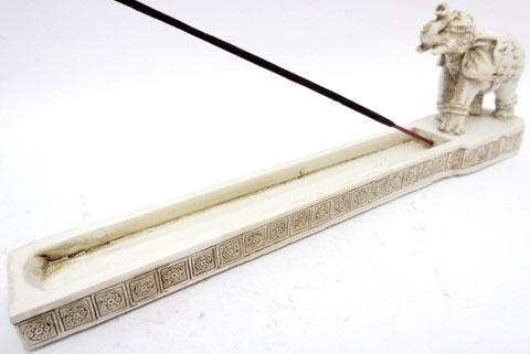 Porte encens resine elephant blanc 26cm