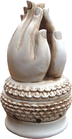 Porte encens main méditation blanc 15cm