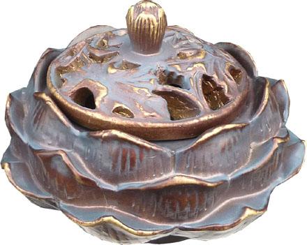 Porte encens cones lotus bronze & or