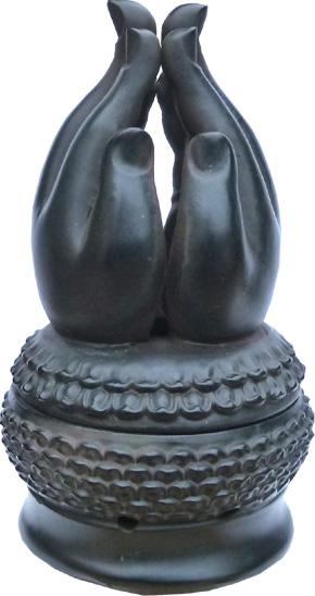 Porte encens main méditation noir 15cm