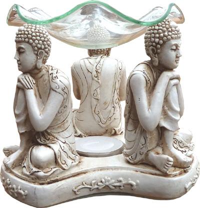 Bruleur 3 bouddhas penseurs blancs