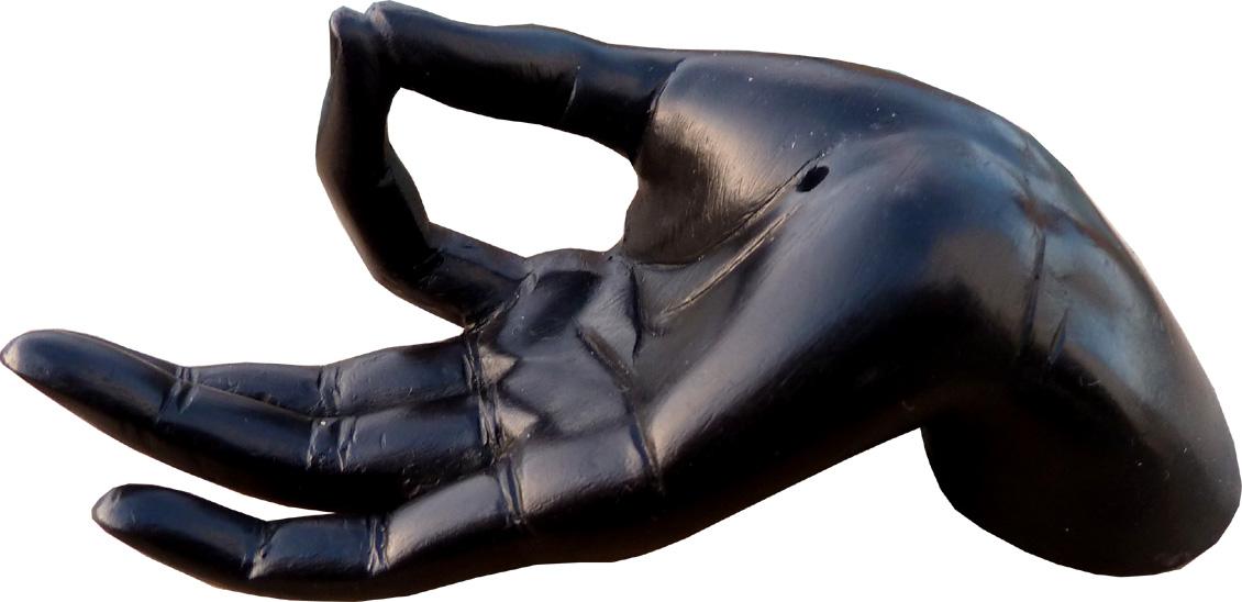 Porte encens main noire resine 11cm