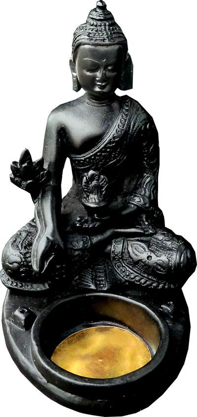 Porte encens résine bougeoir bouddha 10x12x8cm