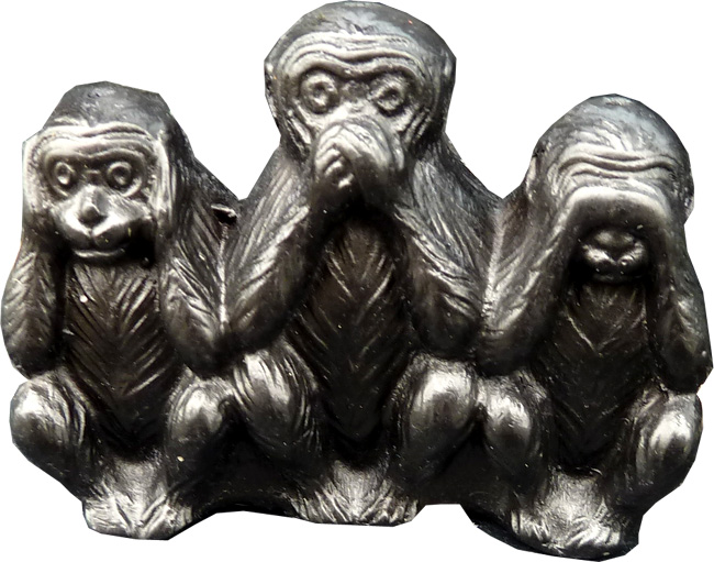 4 portes encens resine singes de la sagesse noirs 5.50cm