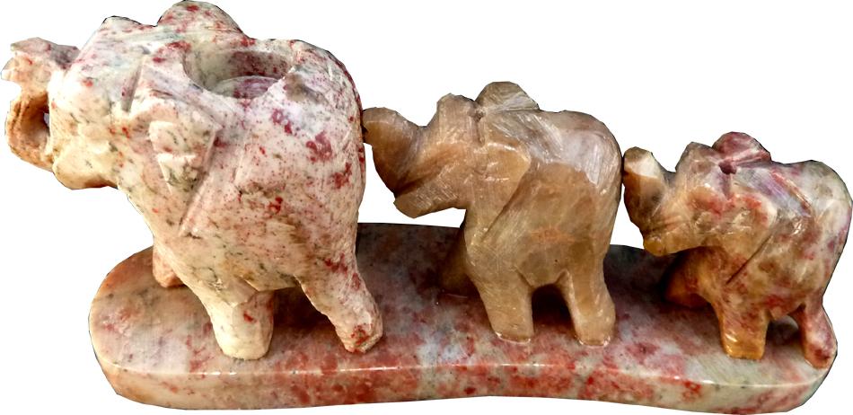 Porte encens trois élephants en pierre