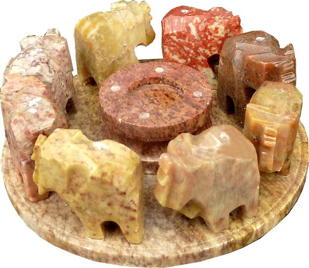 Porte encens rond 8 élephants en pierre couleur 10cm