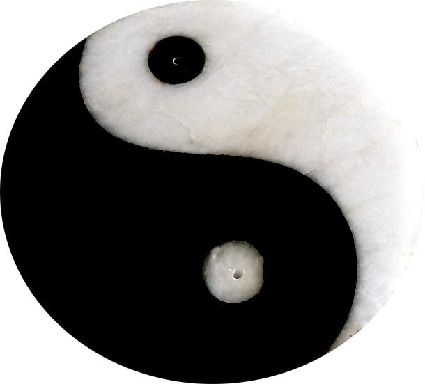 Porte encens pierre ying-yang noir & blanc 10cm