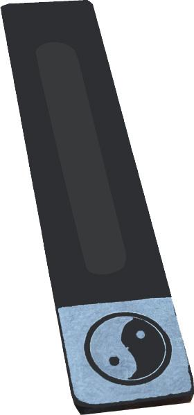 Porte encens pierre saponite noir & gris ying yang X2
