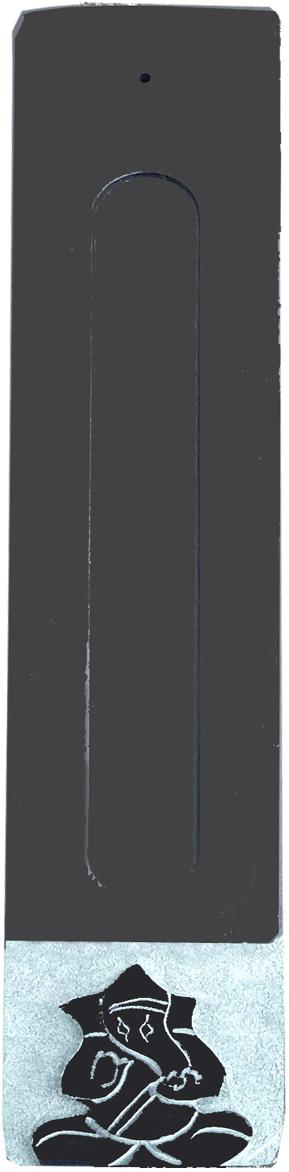 Porte encens pierre saponite noir & gris ganesh X2
