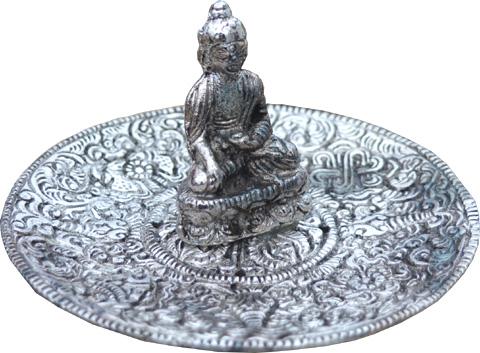 Porte encens métal blanc rond bouddha 11cm