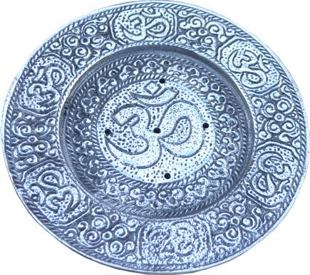 Porte encens métal blanc rond om 11.5cm