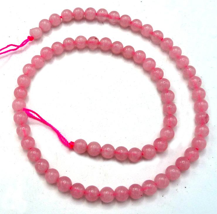 Quartz rose perles 6mm sur fil 40cm
