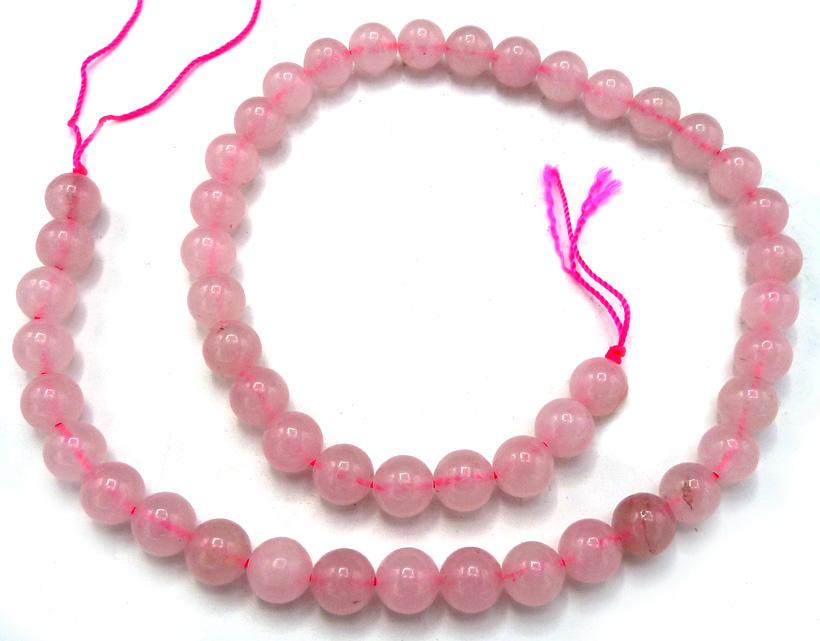 Quartz rose perles 8mm sur fil 40cm