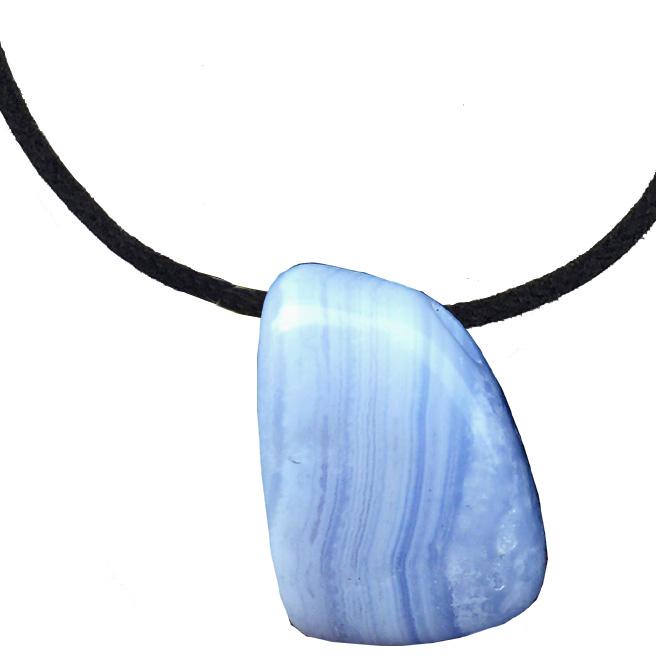 Calcédoine bleue roulée percée 3cm