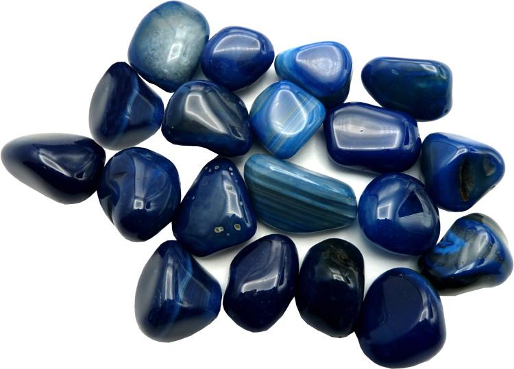 Agate bleue calcédoine pierres roulées 250g