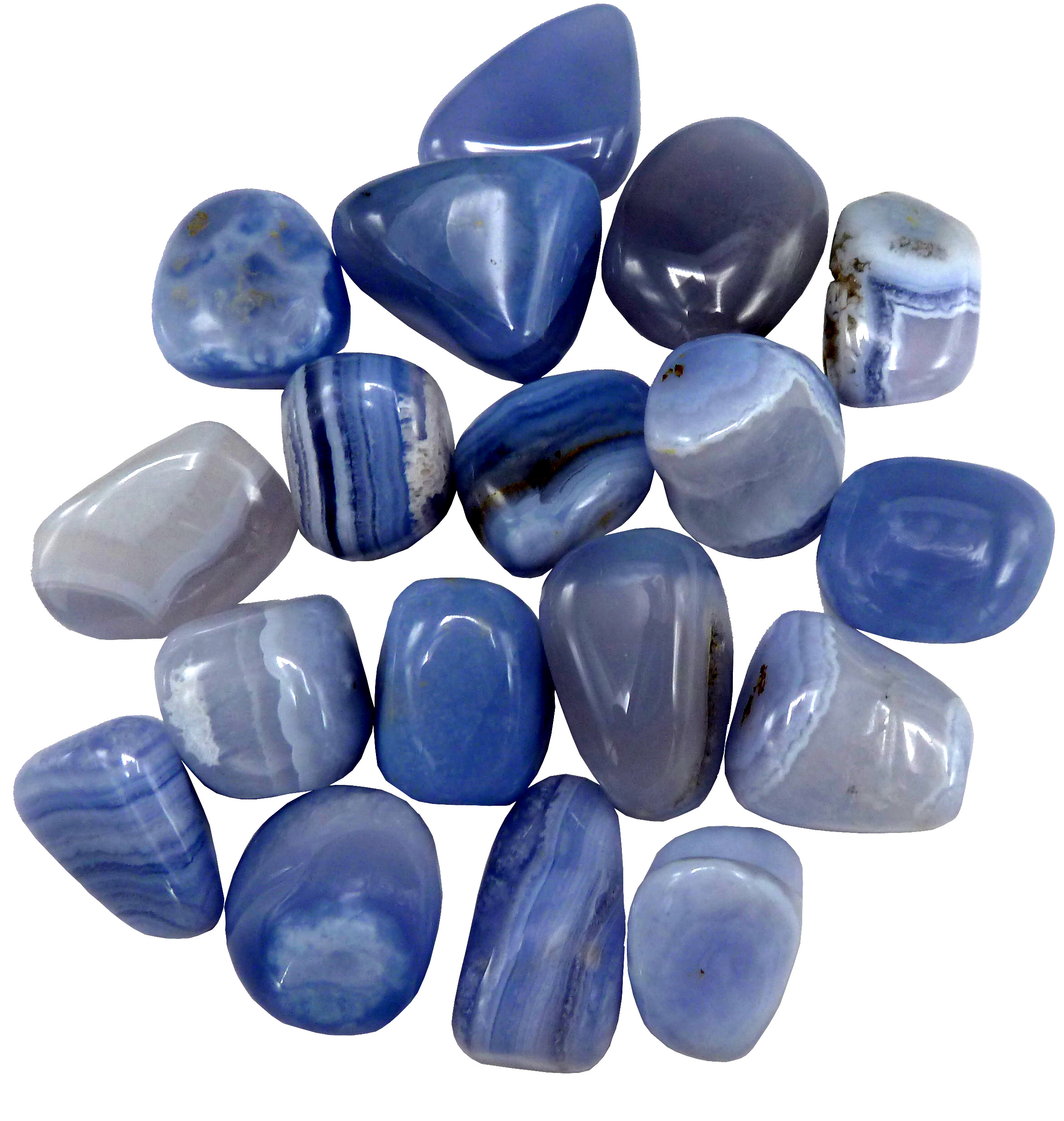 Calcédoine bleue A roulées 250g