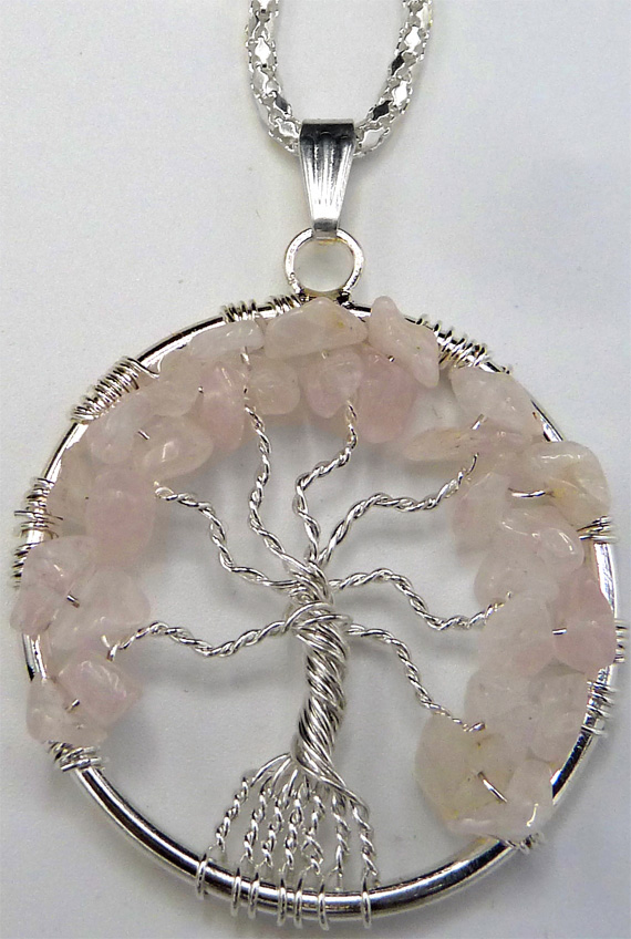 Collier arbre de vie quartz rose 4cm