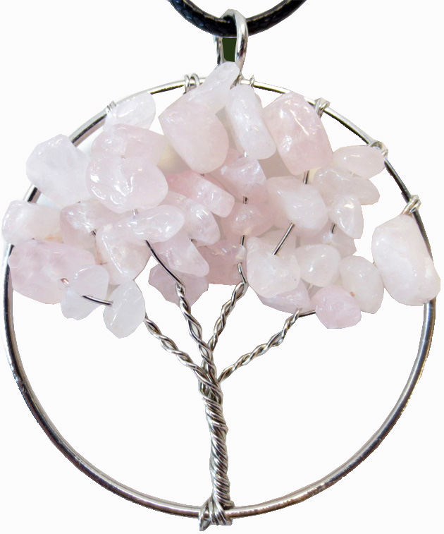 Collier Arbre de vie Quartz rose 5cm