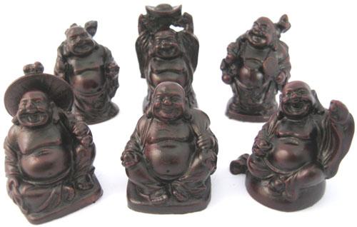 Set de 6 bouddhas resine rouge 5cm