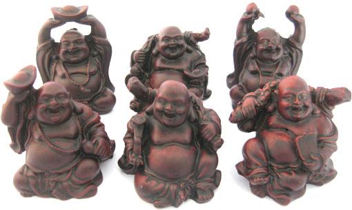 Set de 6 bouddhas resine rouge 7cm