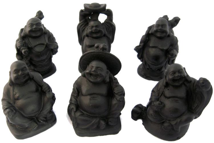 Set de 6 bouddhas noirs résine 5cm