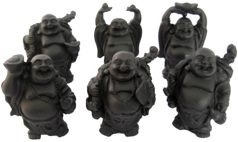 Set de 6 bouddhas noirs résine 8cm