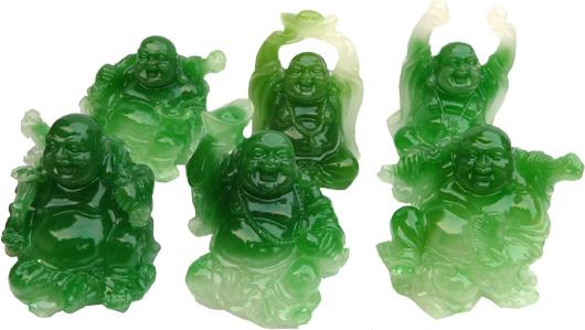 Set de 6 bouddhas couleur jade 5cm