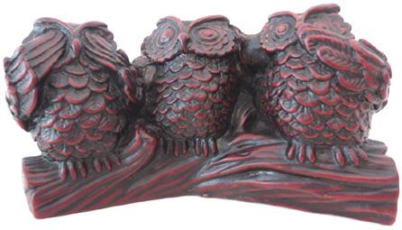 Hibou de la sagesse rouge en résine 10cm
