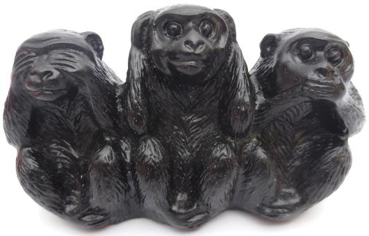 Singes de la sagesse en resine noir 7cm
