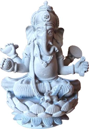 Ganesh en pierre lotus 11.5cm