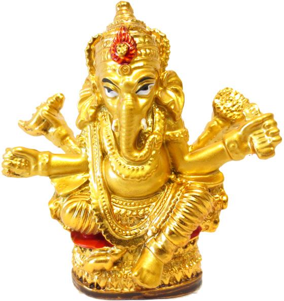 Statue ganesh résine dorée 8 cm