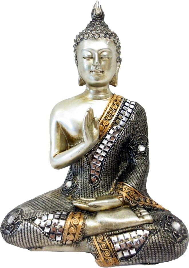 Bouddha meditation argent 20cm