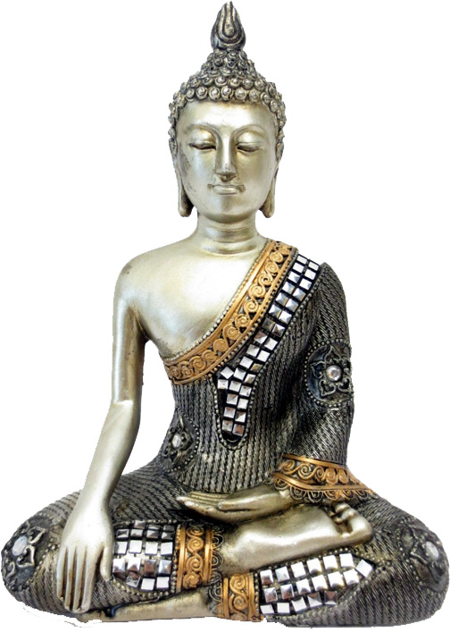 Bouddha meditation argent miroir 21cm