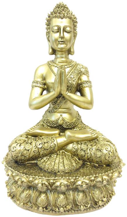 Bouddha du tibet meditation sur lotus or 35cm