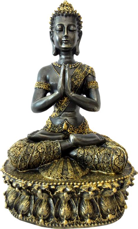 Bouddha du tibet meditation noir & or 35cm