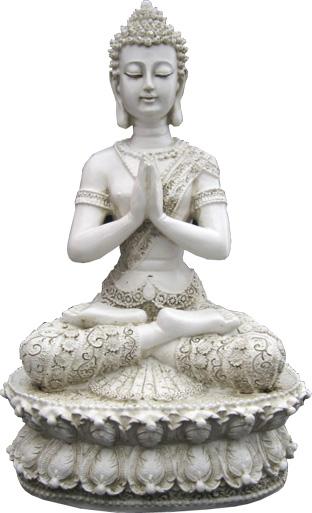 Bouddha du tibet meditation sur lotus argent 35cm