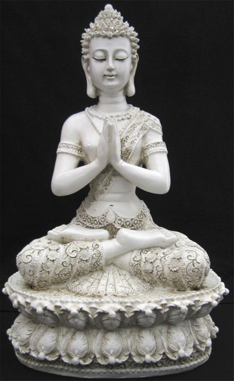 Bouddha du tibet meditation blanc 35cm