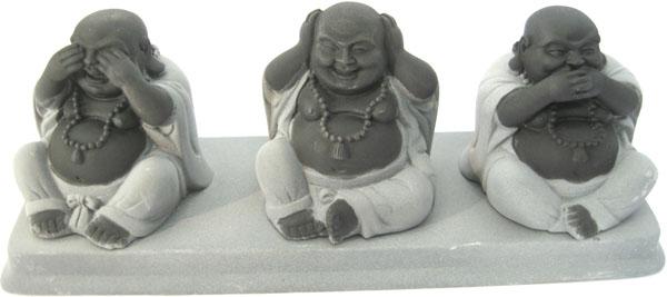 Bouddhas de la sagesse en hématite sur plateau 20cm