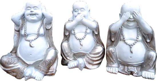 Set de 3 bouddhas sagesse 23cm
