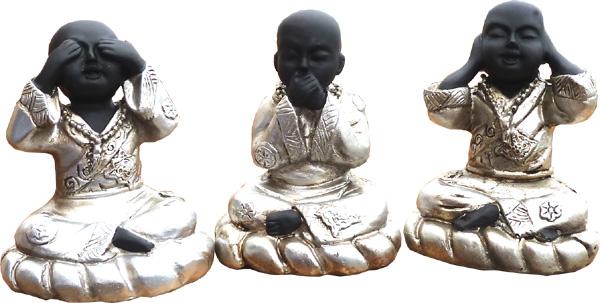 Set de 3 moines sagesse 6x8cm