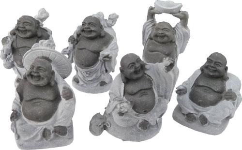 Bouddha chinois set de 6 noir & gris