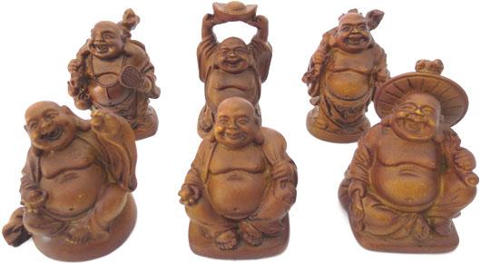 Set de 6 bouddhas chinois couleur bois 5cm