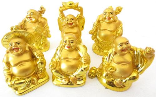 Set de 6 bouddhas resine or & couleur 5cm