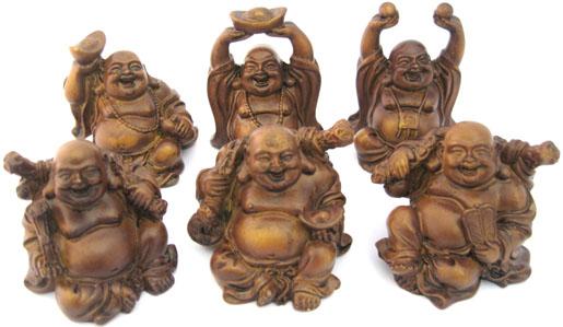 Set de 6 bouddhas couleur bois 7cm