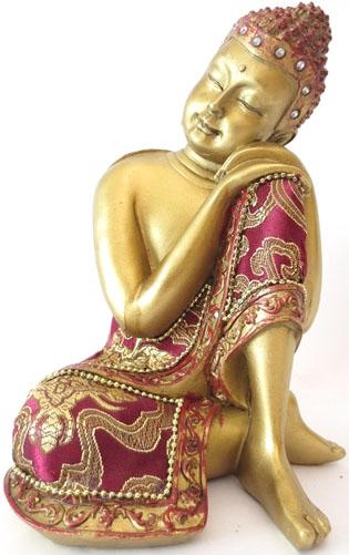 Bouddha penseur rouge & or 19cm