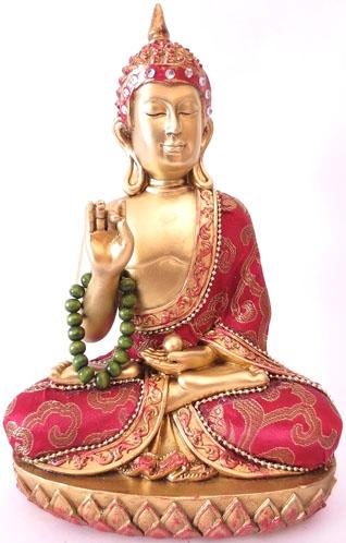 Bouddha thai rouge & or avec collier 22cm