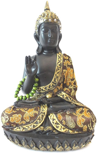 Bouddha thai noir & or avec collier 22cm