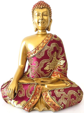 Bouddha meditation rouge & or 22cm