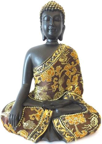 Bouddha meditation noir & or 22cm