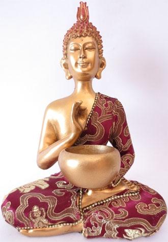 Bouddha thai avec bol rouge & or 22cm